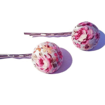 Vintage style floral hair grips made from fabric