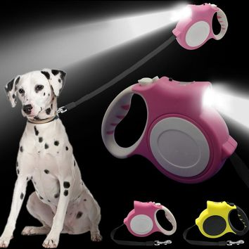 4.5M Retractable Dog Leash With Light Bright Flashlight Extending Puppy Walking Leads For Small Medium Dogs Up to 60lbs