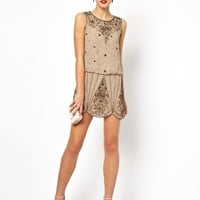 Frock and Frill Embellished Shift Dress with Scallop Hem
