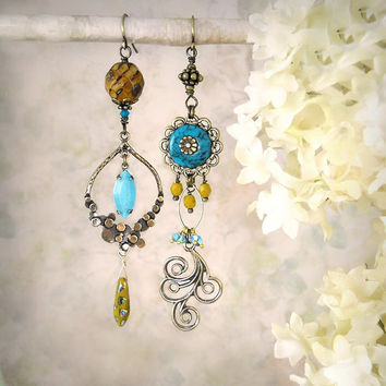 Ocean Gypsy - Asymmetric Mismatch Statement Earrings, Tribal Ethnic Fantasy, Artistic Assemblage Collage, Turquoise Mustard, Solid Bronze