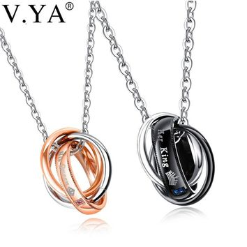V.Ya Stainless Steel Couple Neckalces Her King His Queen Crystal Custom Name Engraved Jewelry for Lover Valentine' Pendant Charm