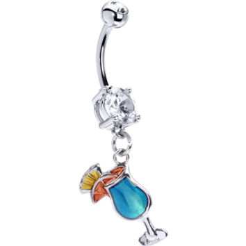 Blue Hawaiian Tropical Drink Belly Ring | Body Candy Body Jewelry