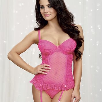 Dotted Mesh Bustier with Matching Panty