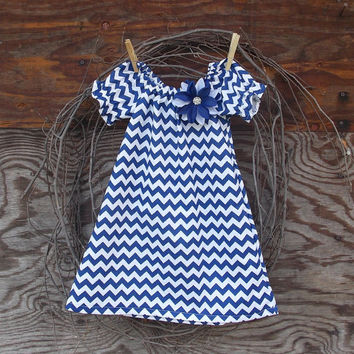 Baby  Chevron  Dress, Peasant Dress, Royal Blue and white, Flower, Fall Thanksgiving, 12, 18, 24 months, 2 T and 3 T  size