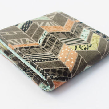 Oversized Business Card Case, Square Card Holder, Fabric Wallet, Chevron