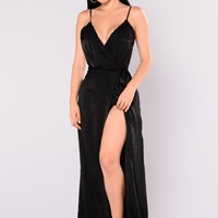 Jacqueline Satin  Maxi Dress - Black
