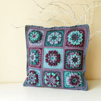 PDF Pattern of Crocheted Pillowcase - Flower Granny Square Motifs - Overlay Crochet - Instant download