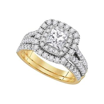 14kt Yellow Gold Women's Princess Diamond Solitaire Bridal Wedding Engagement Ring Band Set 7/8 Cttw - FREE Shipping (US/CAN)