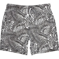 River Island Boys black tropical leaf print swim trunks
