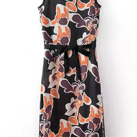 Black Floral Print Bodycon Maxi Dress