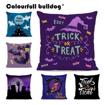 Cartoon Party Pumpkin Pillow Cushion Cover Bat Car Spider Throw Pillow Covers Ghost Witch Velvet Pillowcase Halloween Sofa Decor