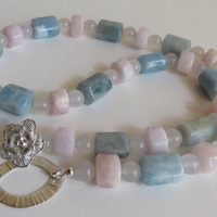 Morganite in Pink, Blue and Green Necklace with Agate and Sterling Silver, Statteam