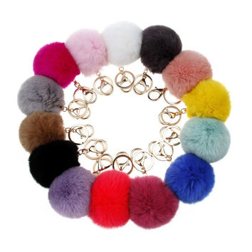 1PC Pompom Fur Ball Gold Keychain Purse Bag Charm Plush Fluffy Keychains = 1931633732