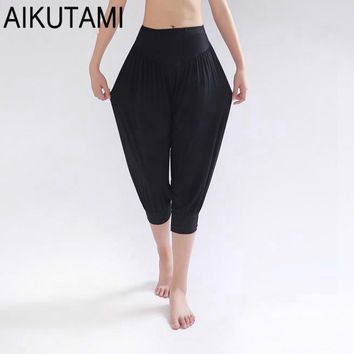 AIKUTAMI Classic Harem Yoga Pants Women Wide Leg Loose Size High Waist Solid Modal Bloomers Dance Girls Fitness Clothes Pantalon