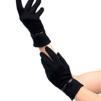 Sure Fit Black Bow & Band Wrist Length Texting Gloves