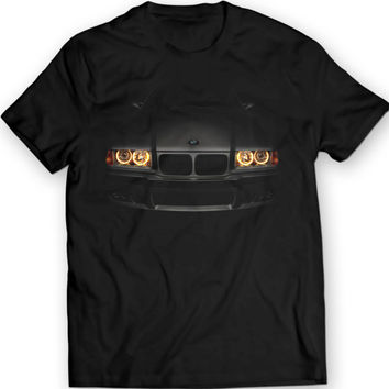 BMW E36 320 T-Shirt Headlights Glow Black T Shirt Garment Apparel Angel Eyes