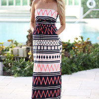 Navy And Neon Pink Maxi Dress With Pockets