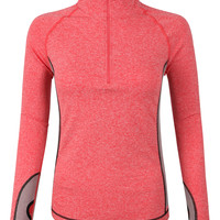 LE3NO Womens Lightweight Half Zip Up Long Sleeve Active Sports Jacket Top (CLEARANCE)