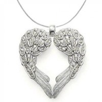 Silver Tone Angel Heart Guardian Angel Wing Pendant Necklace