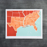 Brainstorm Prints American Atlas 3 Color Screenprint Poster South
