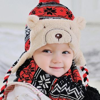 Baby Winter Hat Warm Cap Hats For Children Kids Girls Animal Cat Ear Kids Crochet Knitted Baby Hat Cap Bonnet Infant