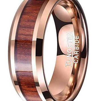 CERTIFIED 8mm Hawaiian Koa Wood Tungsten Carbide Rose Gold Plated Wedding Band