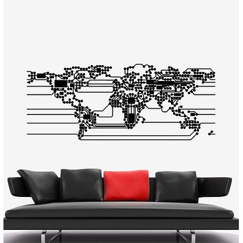 Vinyl Wall Decal Abstract World Map Earth Computer Microchip Scheme Stickers Unique Gift (1877ig)