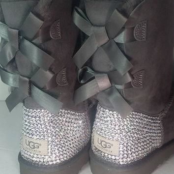Bailey Bow UGGs, Custom Bailey Bow Uggs, Gray Bailey Bow Uggs, Swarovski Uggs, Crystal