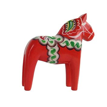 Large Red Swedish Dala Horse Wood Figurine