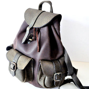 Graphite Grey Distressed Leather Backpack
