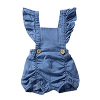 Newborn Infant Baby Girl Denim Ruffles Romper Jumpsuit Sunsuit Outfits Clothes Sleeveless Solid Baby Girls Rompers