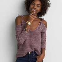 AEO Cold Shoulder Tie Pullover, Sugar Plum
