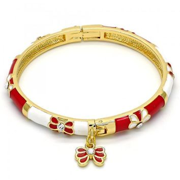 Gold Layered Individual Bangle, Butterfly Design, with Crystal, Golden Tone