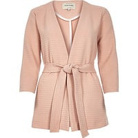 Light pink ribbed belted jacket - jackets - coats / jackets - women