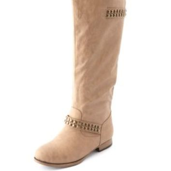 Pyramid Stud Double Buckle Flat Boot by Charlotte Russe - Camel