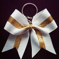 White and Gold Cheer Bow Keychain