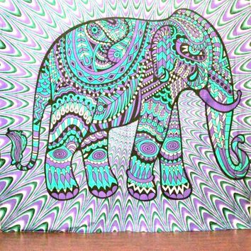Purple Tribal Elephant Boho Bohemian Bedspread Beach Blanket Wall Tapestry