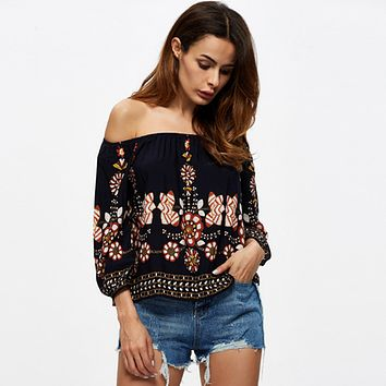 Fashion Retro Print Off Shoulder Middle Sleeve Shirt Tops