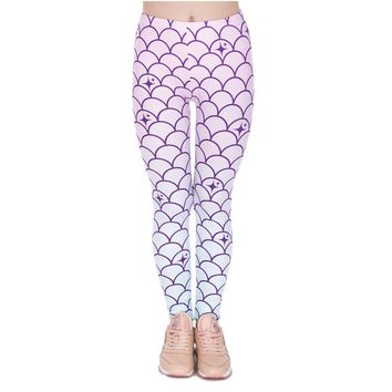 Pinky Mermaid Scale Leggings