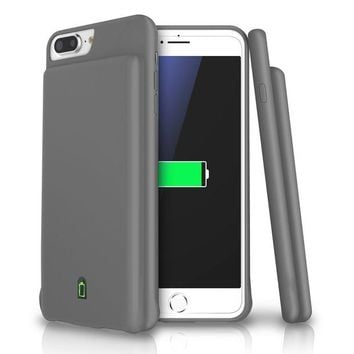 DCK4S2 iPhone 8 Plus / 7 Plus / 6s Plus / 6 Plus Battery Case, LoHi 7000mAh Capacity Support Headphones Ultra Slim Extended Battery Rechargeable Protective Portable Charger 5.5' Grey
