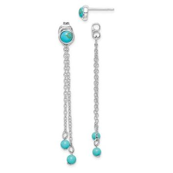 Sterling Silver Created Turquoise Chain Drop Front And Back Jacket Earrings