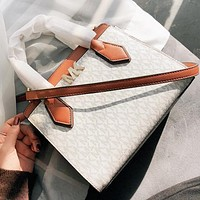 MK Michael kors New fashion more letter print leather shoulder bag crossbody bag handbag White