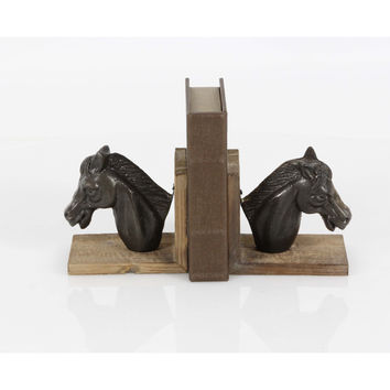 Horse Head Wooden Bookend