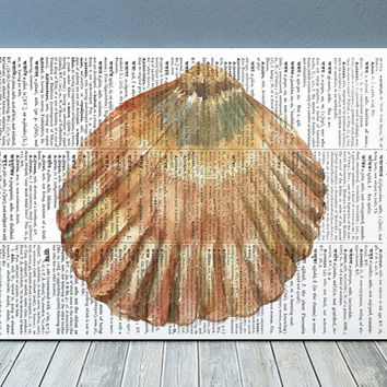 Beach house print Seashell art Dictionary poster Nautical print RTA1993