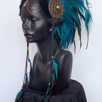 MADE TO ORDER Midsize Teal & Black Warrior Headpiece Headdress