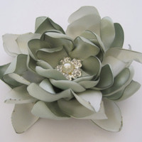 Mint Green Sage Satin Wedding Flower Hair Clip Hair Accessories Bride Mother of the Bride  Bridesmaids Prom with Pearl and Rhinestone Accent