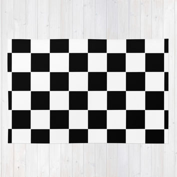 Checker Cross Squares Black & White Rug by Beautiful Homes