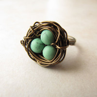 Birds Nest Ring Green Turquoise Eggs Howlite Silver  Wire Wrapped Size 7.5