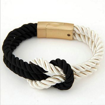2018 Hot Trendy Fashion Braided Rope Chain with Magnetic Clasp Bow Charm Leather