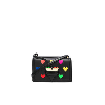 Loewe Small Barcelona Hearts Bag in Black & Multicolor | FWRD